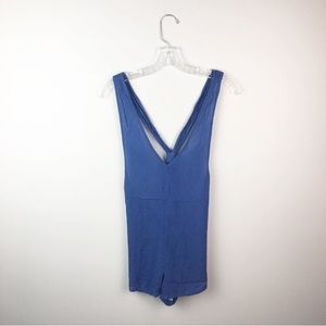 Urban Outfitters v-neck romper blue cross back